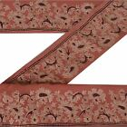 Sanskriti Vintage Sari Border Embroidered 2 YD Trim Sewing Brown Craft Deco Lace