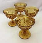 Smith Glass Moon and Star Amber Tall Sherbet / Champagne Glass (set of 4)
