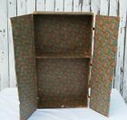 Vtg Steamer Trunk Liner Insert Teal Brown Leather Straps Compartments Harware