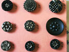 Nice Lot of 9 Black Glass Victorian Buttons - Silver Luster