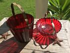VINTAGE ANCHOR HOCKING ROYAL RUBY RED RIBBED ICE BUCKET AND CANDY DISH