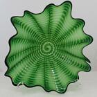 Beautiful Hand Blown Glass Art Wall Platter Bowl green 8215 ONEIL