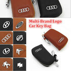 Multi-Brand Genuine Cow Leather Women Men Zip Car Key Bag Chain Ring Case Holder