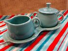 Fiestaware Turquoise Creamer and Sugar Set  Figure 8 Tray, pre owned