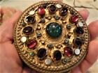 LARGE ORMOLU  FRENCH, AUSTRIAN? OVER THE TOP JEWELED COMPACT, TRINKET, PATCH BOX