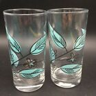 2 Vtg Anchor Hocking Salem Biscayne Turquoise Black Leaf Glass Tumblers 12 Oz