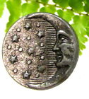 VICTORIAN PEWTER BUTTON W/ STARS AND MAN IN THE MOON A47