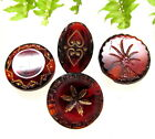 4 LOVELY VICTORIAN RUBY RED BUTTONS W/ GOLD DESIGNS A101