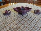 Van Briggle Acorn Mulberry Console Bowl Frog and Candlesticks