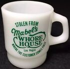 Rare Vintage AH Fire King D Handle Advertising Mug Cup *Mabel's Whore House*