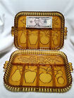 PRISTINE 2 VTG Indiana Amber Glass Relish Trays-Divided Dish/Platter-Fruit+Nuts