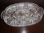 Vintage Fostoria Clear Cut Glass Divided Relish Tray Dish Platter