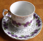 Vintage Inarco Hand Painted Violets Demitasse Cup and Saucer  Gold Trim  Nice