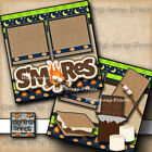 SMORES camping 2 premade scrapbook pages paper piecing layout DIGISCRAP A0114