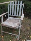 vintage blue weathered folding wood wooden chair prim primitive style
