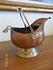 Brass Coal Scuttle Bucket with Delft Handles