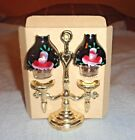 Vintage Salt  Pepper Shaker Set Plastic Globe Lamp in Metal Candle Holder NEW
