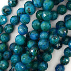 Faceted Blue Green Azurite Round Beads 155 Strand 4mm 6mm 8mm 10mm 12mm