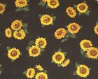 1 Yard Yellow Sunflowers on Black Cotton Quilt Fabric BTY by Cranston 36 X 44