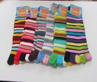Women Multi Colored Striped Toe Socks One Size Fits Most U Choose Colors