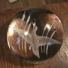 VINTAGE VAL ST LAMBERT FLYING DUCK IN CATTAILS ART GLASS PAPERWEIGHT