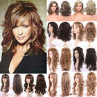 Fashion Highlight Blonde Brown Ombre Two Tone Full Wig Curly Wave Straight Hair