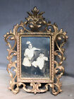 Antique Gilt Brass Cast Iron French Baroque Easel back Picture Frame 6x4 Vintage