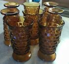 VTG SET OF 8 AMBER WHITEHALL FOOTED 6