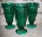 ANCHOR HOCKING SET OF 3 EMERALD GREEN SUNDAE/PARFAIT/SHAKE GLASSES