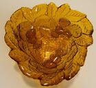 Vintage Embossed Scalloped Triangular Amber Glass Berry Bowl 7.25