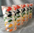 1950s KRAFT SWANKY SWIG 4 GLASS TUMBLERS RED-BLACK-GREEN-YELLOW-ORANGE ROPE