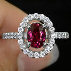 IMPRESSIVE GEMS 1.15 CT RED RUBY MAIN STONE 925 SILVER RING SIZE 7
