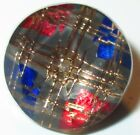ANTIQUE VICTORIAN CLEAR FACETED GLASS COLORFUL PLAID KALEIDOSCOPE BUTTON - 5/8