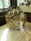 Vintage Hollywood Regency Glam Shabby Tole Leaf Cage Chandelier Fixture w Canopy