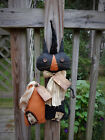 FoLk Art PrimiTive HALLOWEEN gruNgy Black CAT wiTch PUMPKIN DOLL DecoraTion TaGs