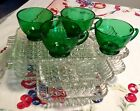 ANCHOR HOCKING 'ANCHORGLASS' FIRE KING 8 PC.SNACK SET, CRYSTAL TRAYS, GREEN CUPS