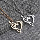 Love Heart Treble Clef Music Note Elegant Silver Plated Pendant Necklace Elegant
