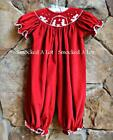 Smocked A Lot Girls Christmas Nativity Bubble Red Corduroy Manger Scene Dress