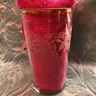 Vintage Embossed/Etched Glasses w/Frosted Grapes and Leaves w/gold rim 5 total