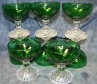 Rare Vintage 8 Anchor Hocking Crystal Forest Green Bubble Foot Champagne Sherbet