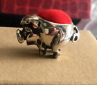 Vintage Sterling Silver Miniature Red Velvet  Pig Pin Cushion Free Shipping!