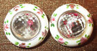 PAIR ANTIQUE FACETED CLEAR GLASS BUTTONS w PAINTED RIM FLOWERS - SEW-THRU 9/16