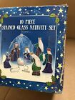 Stained Glass Nativity Set 10 Pieces Original Box