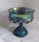 VTG Indiana Glass King's Crown thumbprint blue Carnival Glass Compote Candy Dish