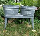 Wheeling Galvanized Metal Double Wash Tub Washtubs Pair Stand St. Louis Area