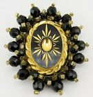 Vintage High Quality Black Glass Bead Etched Gold Design Pin Brooch Pendant