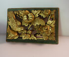 Antique vintage  Chinese deep relief wood carving gold birds flowers panel