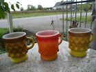 Lot of 3 Vintage Fire King Glass Mugs Cups Orange Yellow Kimberly Anchor Hocking