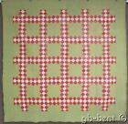 Christmas Holiday! c 1890s Irish Chain QUILT Antique Red Green 20th Celebration!