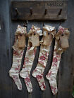 FoLk Art PrimiTive Red Toile CHRISTMAS STOCKINGS OrNies OrnamenTs DecoraTion TaG